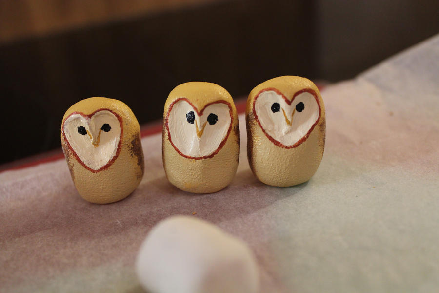 Hand Sculpted and Painted Barn Owls by RaLaJessR