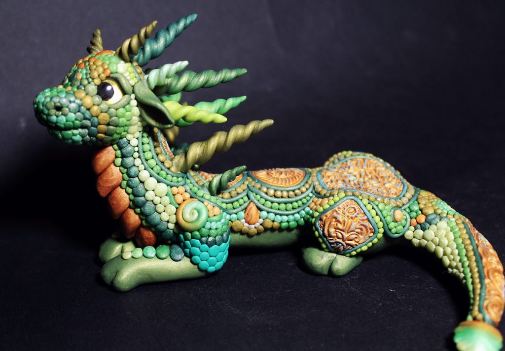 Green and Gold Large Scaled dragon by RaLaJessR