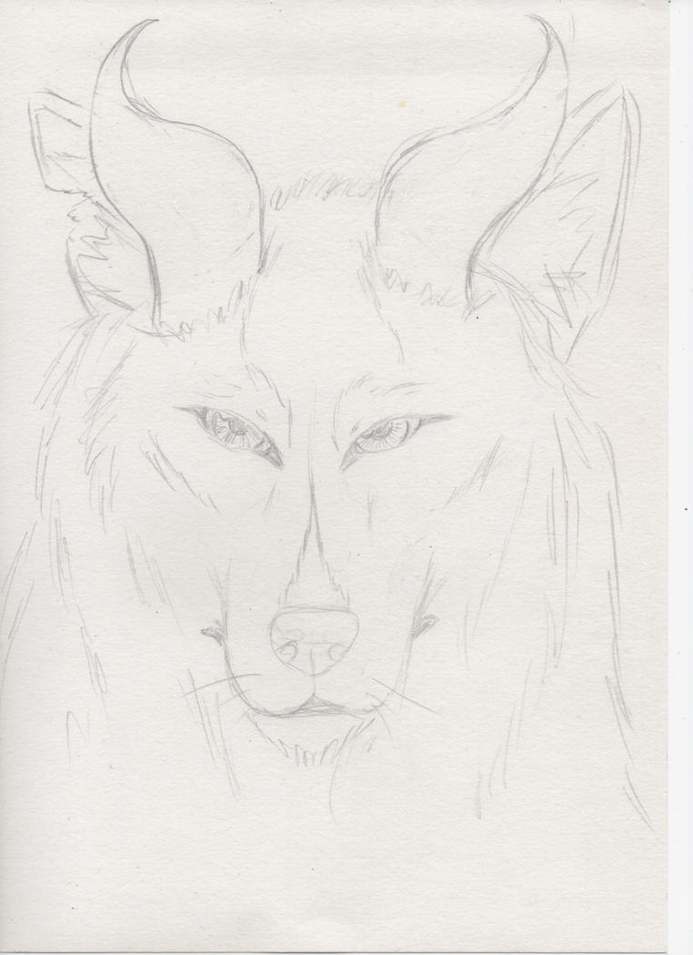 Wolf with horns 1 by miawell1990