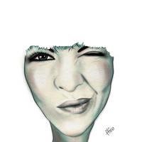 Self Portrait - Surrealistic Digital Portrait Art by Mina-Burtonesque