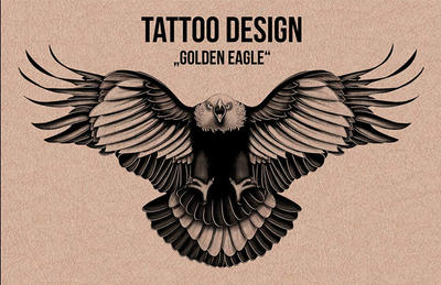 Golden Eagle - Tattoo Design - Illustration by Mina-Burtonesque on ...