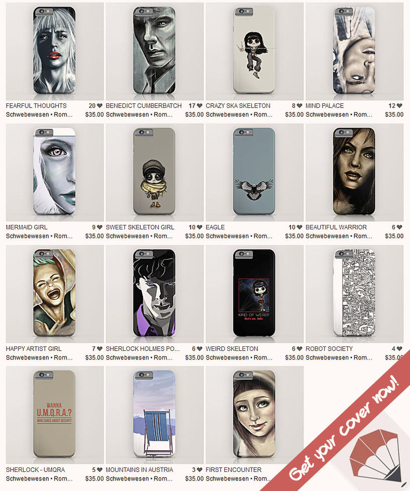 Mobile covers and skins on society6 by mina burtonesque on for Websites similar to society6