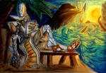 Heat as a reason to take of the armor by ArachnaFonFenris