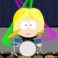 Steve with a drumkit
