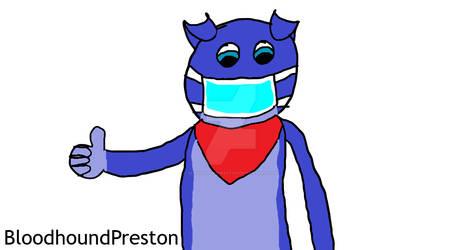 Preston the Dog in a Face Mask