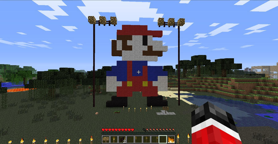 how to build 8 bit mario in minecraft