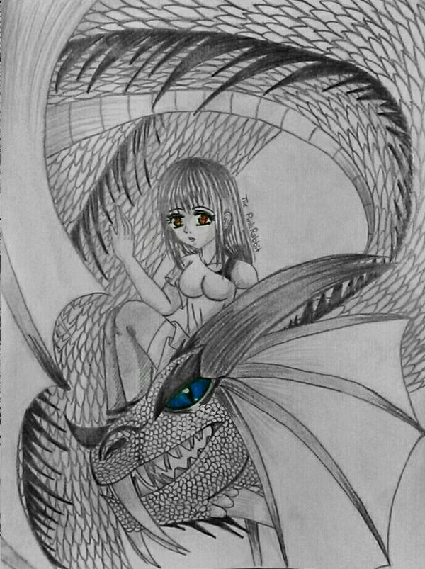 Dragon and Girl by ThePinkRabbits