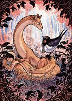 Snakedog and Swallow by MinnaSundberg