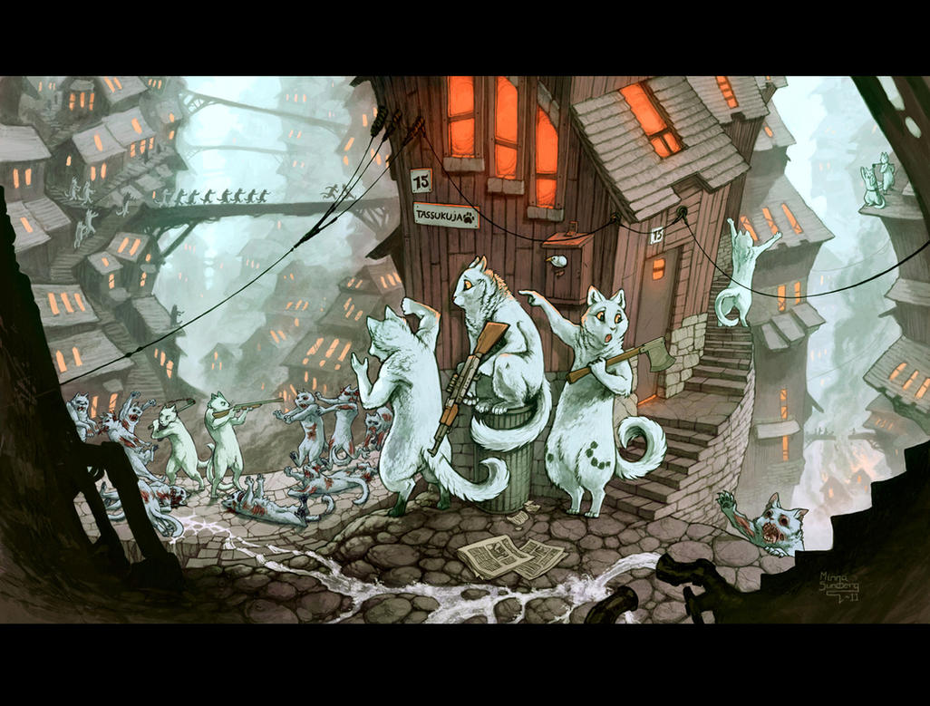 Zombie Catocalypse by MinnaSundberg