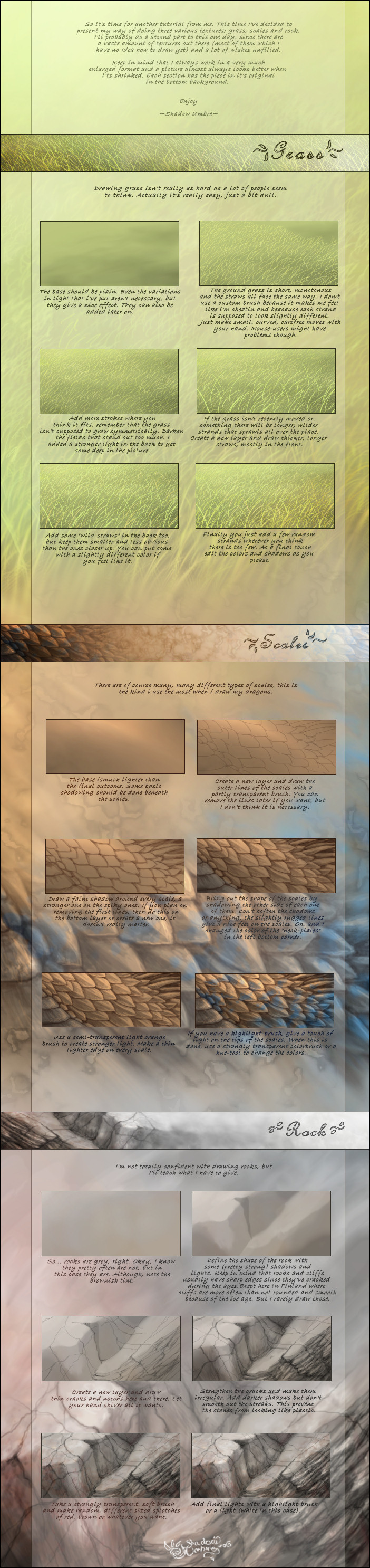 Various textures tutorial by MinnaSundberg