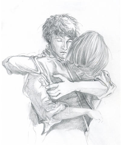 Sabriel and touchstone hugging by LauraToltonTwo Best Friends Hugging Drawing