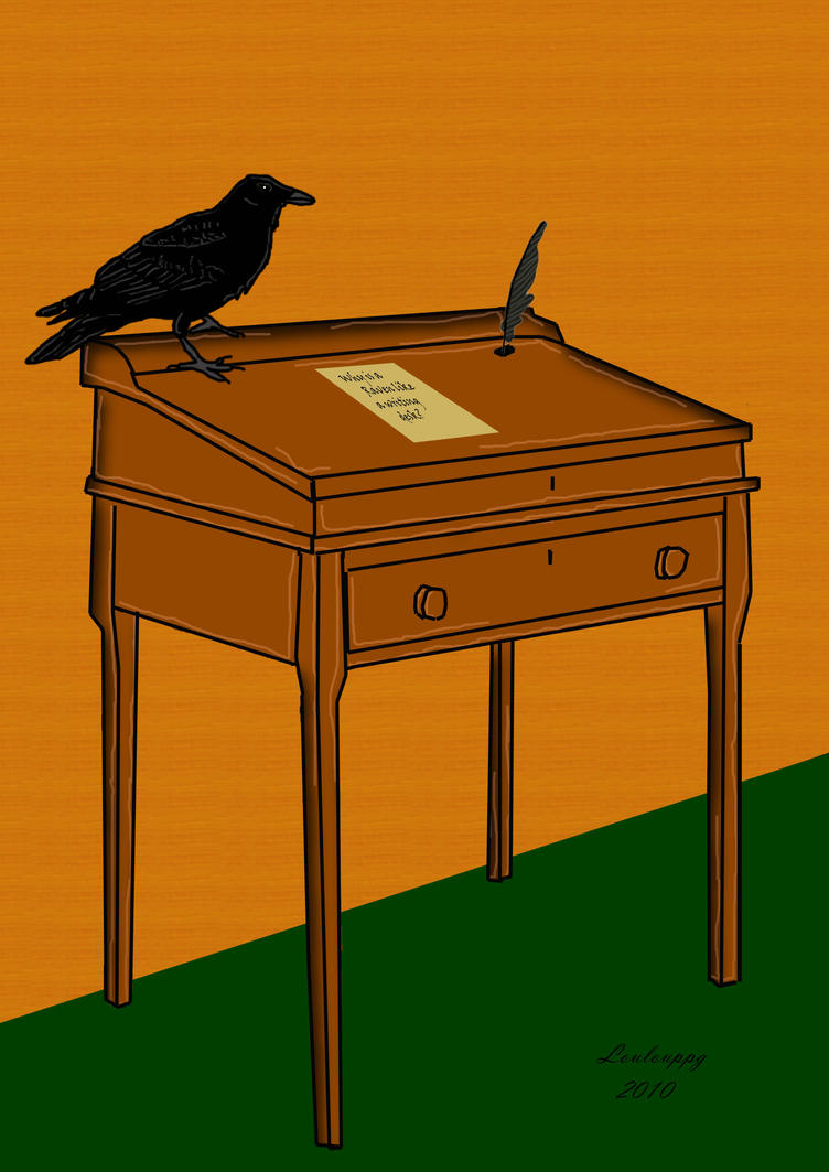 raven and a writing desk