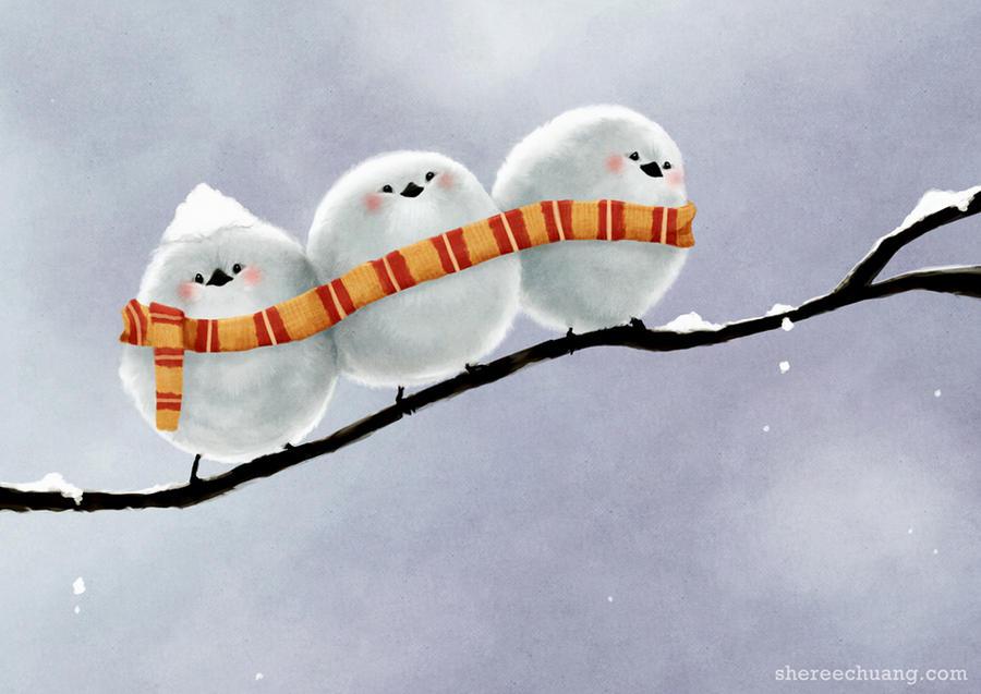 Смешные рисунки зимние, плеером