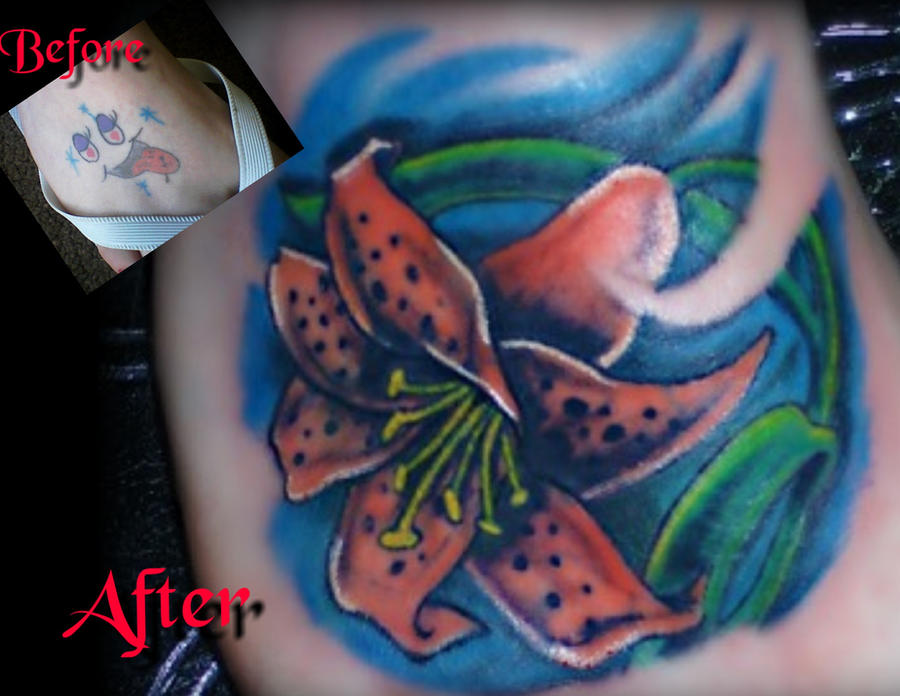 Tiger Lily Cover up Foot Tattoo