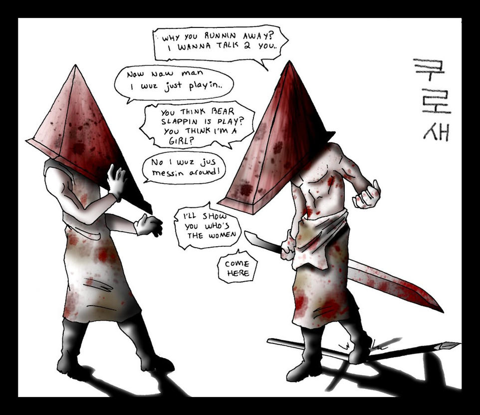 Topless Pyramid Head angry by macawnivore