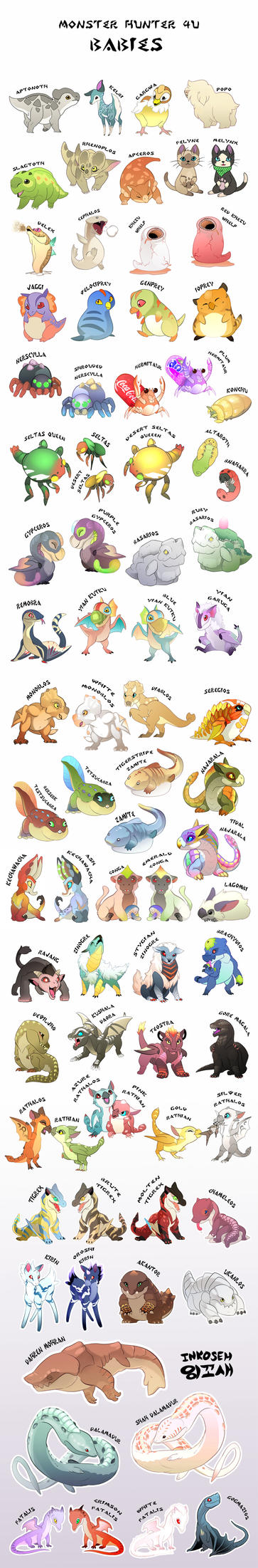 Monster Hunter 4U Babies by macawnivore