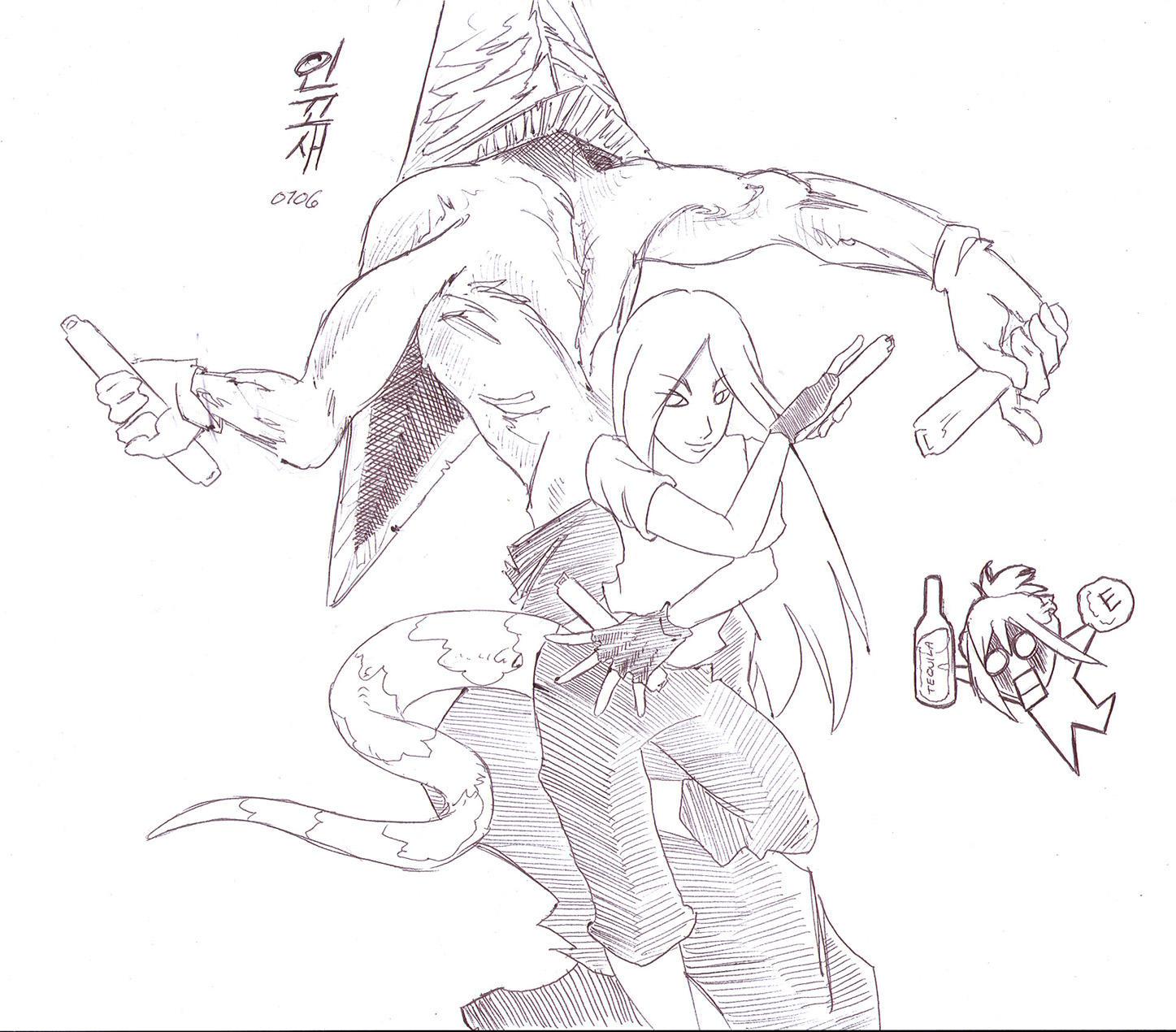 how to draw pyramid head