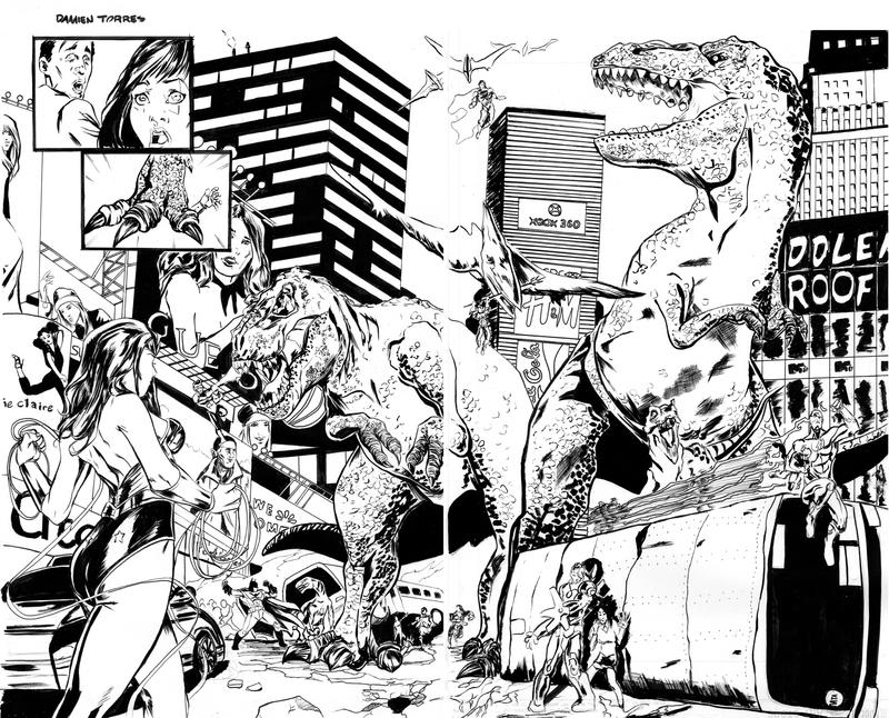 Dinosaurs in the City Inks by dtor91