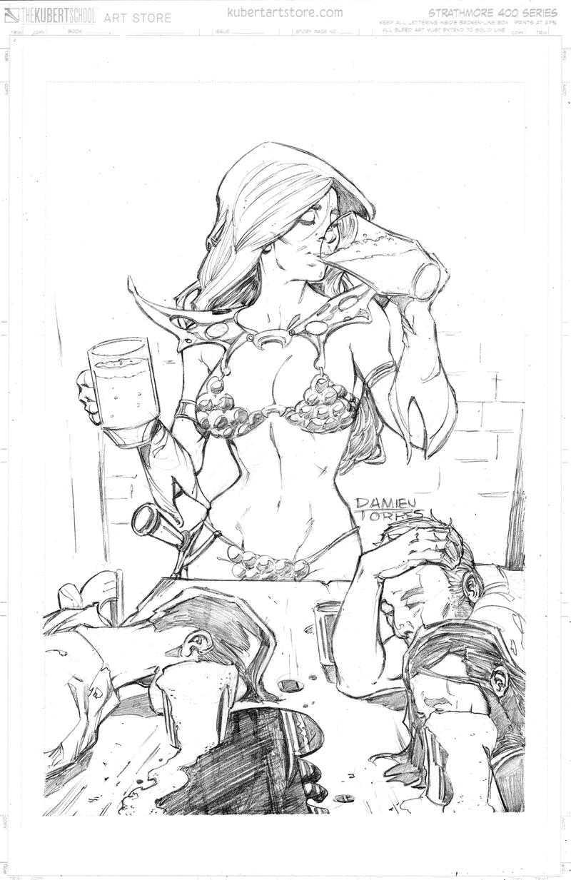 Red Sonja Drinking by dtor91