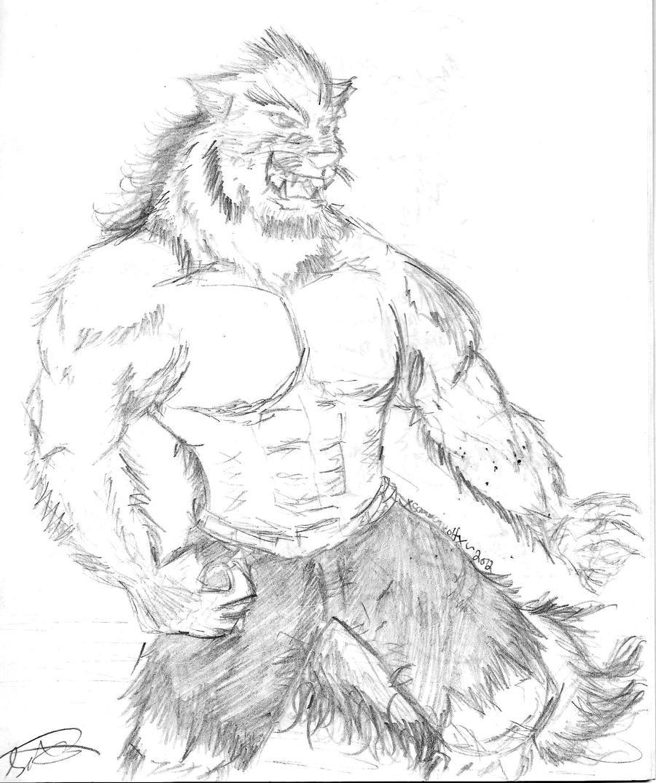 buff humanoid werewolf sketch by xsamuraiwolfx on deviantart