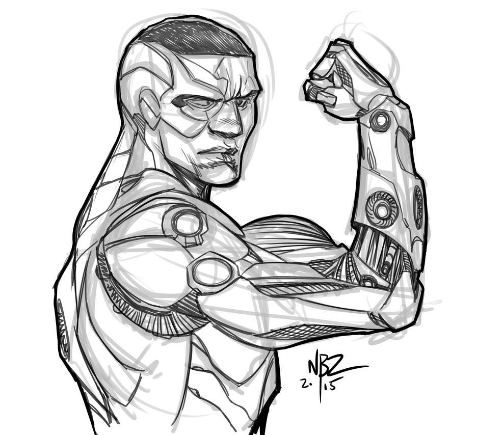 Cyborg Sketch By Nelsonblakeii On Deviantart Rh Com Ninja