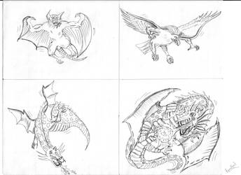 Some flying monster sketches by BhartiLabs