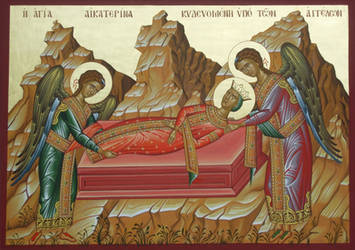 St. Catherine  being buried by the angels
