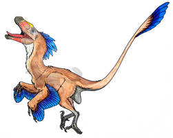 Deinonychus Leap by InkHyaena