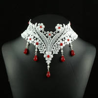 White and Red Lace Choker