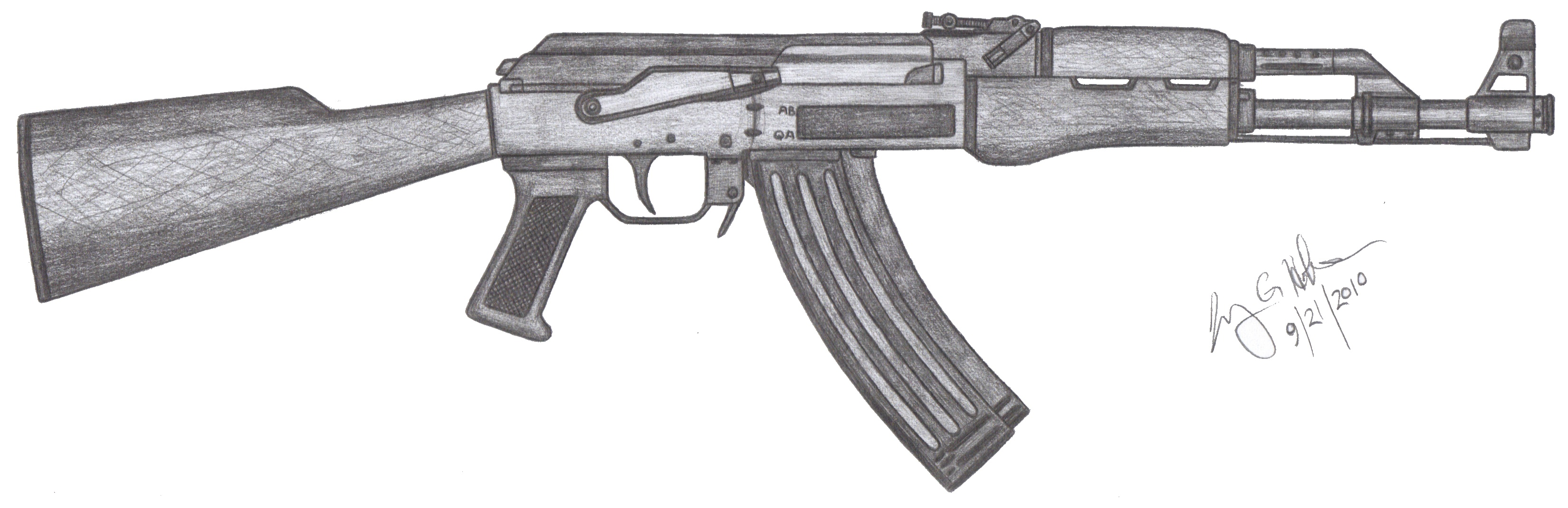 It's just an image of Clever Drawing Of Ak 47