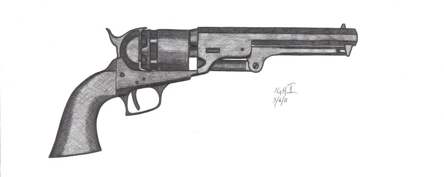 Colt Revolver Drawing Colt 1851 Navy Revolver by