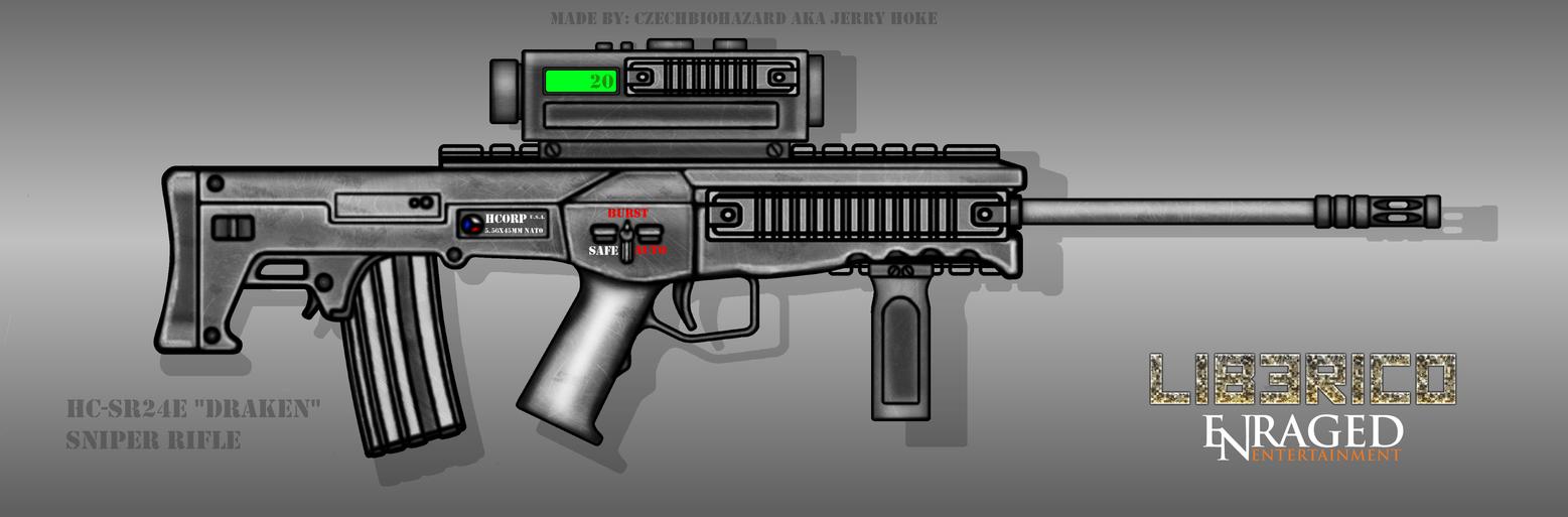 Fictional Firearm: HC-SR24E Sniper Rifle [Draken] by CzechBiohazard