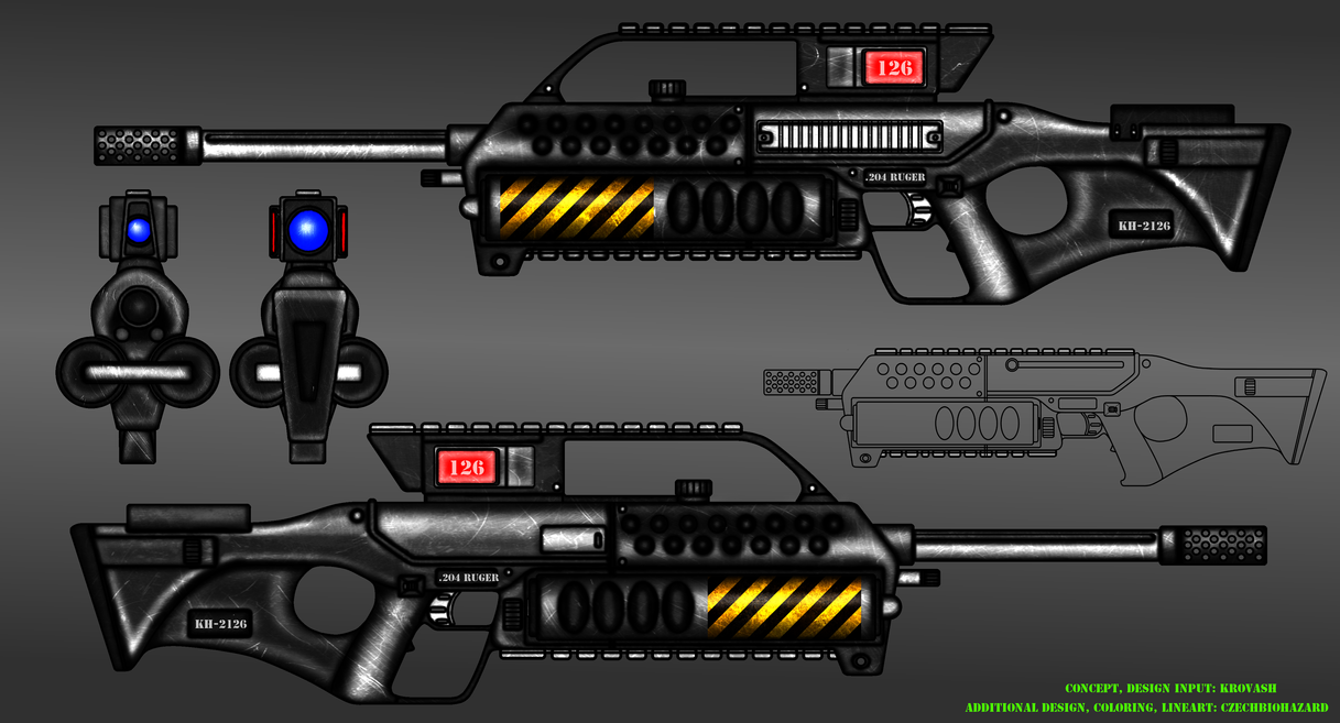 Collab: Fictional Firearm: KH-2126 LMG multi-view by CzechBiohazard