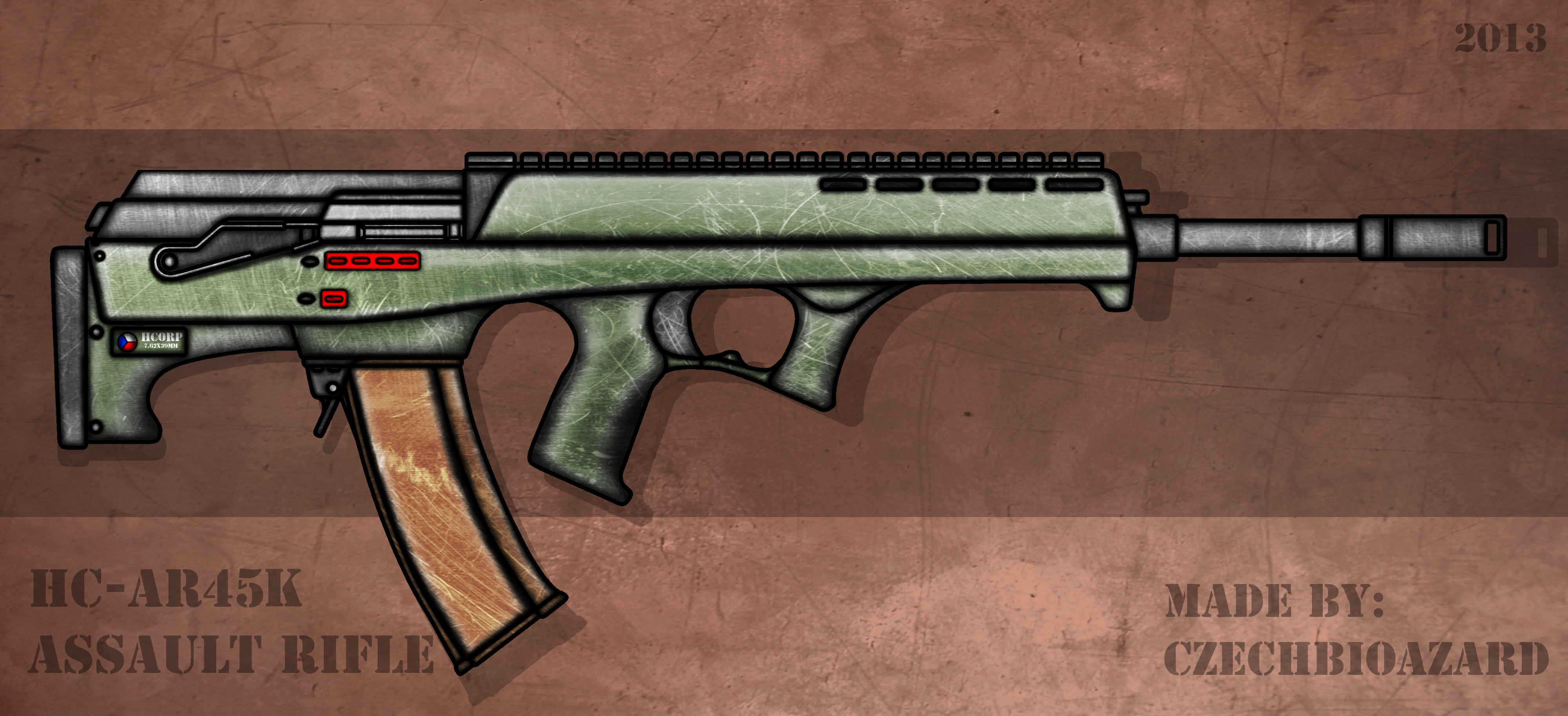 Fictional Firearm: HC-AR45k Assault Rifle by CzechBiohazard