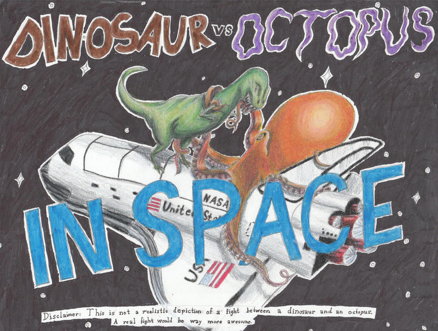 Dinosaur vs. Octopus in Space by fifthdimensional
