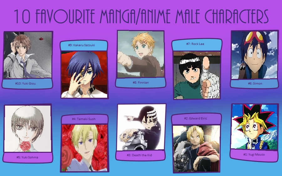 My Top Ten Favorite Male Characters In Anime By AnimeSnowAngel