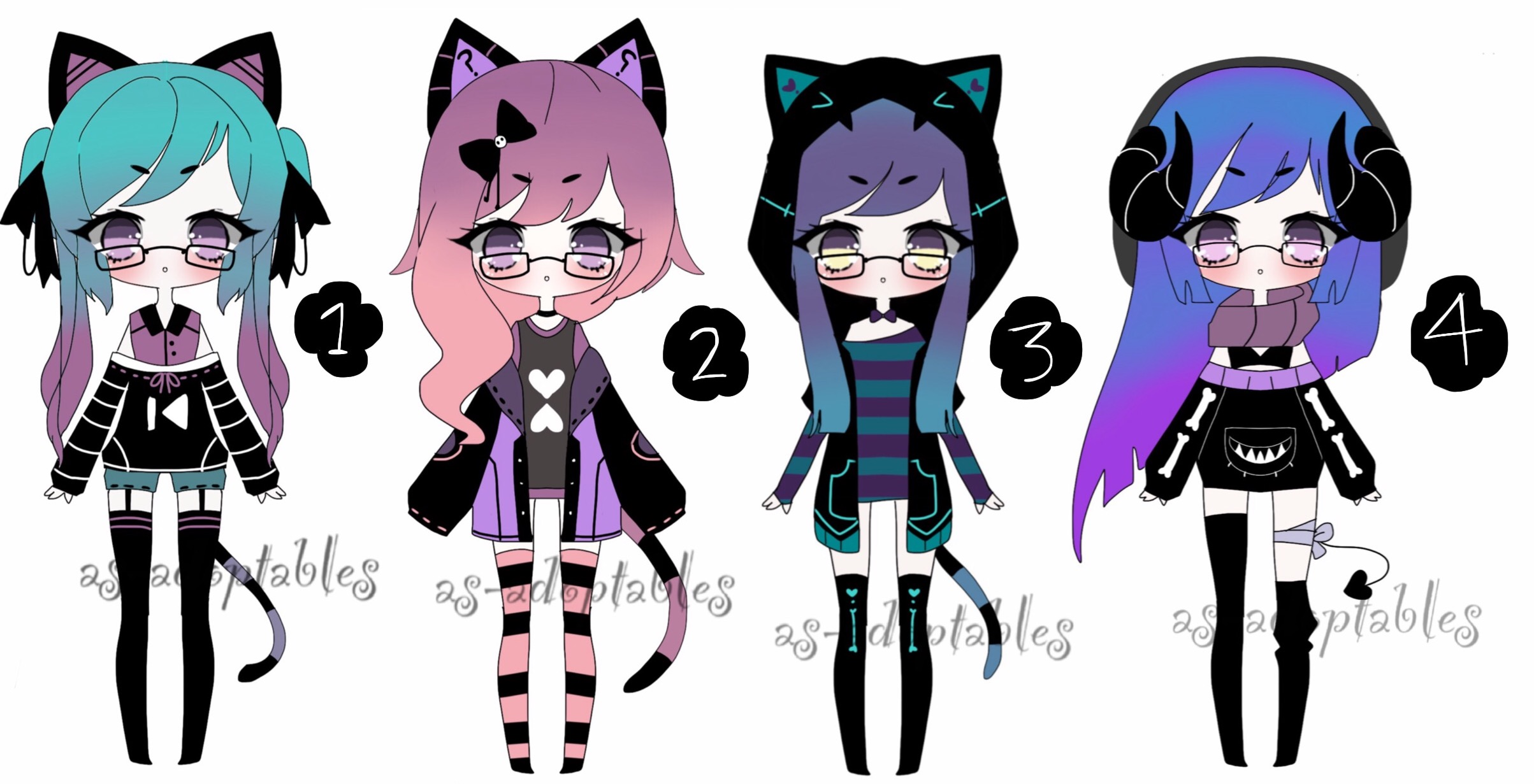 goth kemonomimi adoptables closed by AS-Adoptables on ...