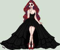 She is wearing a black dress.