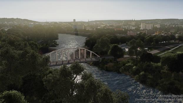 Mardyke Walk bridge and skate park.- Cork (Ireland