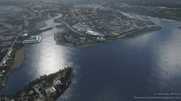 Aerial view of Jacob's Island and Mahon Point.-