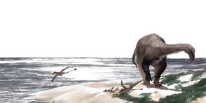 [Plateosaurus engelhardti ] in Triassic morning.