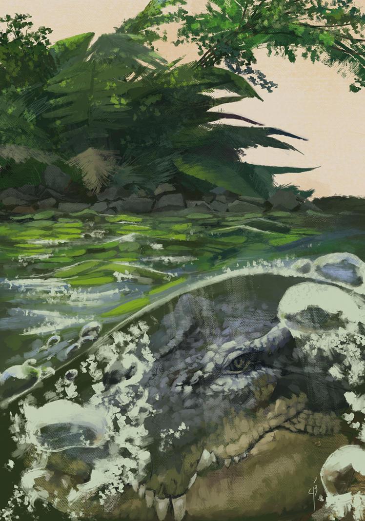 Lurking Crocodile by Rochnan