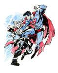 Sketch jam - superman vs thor