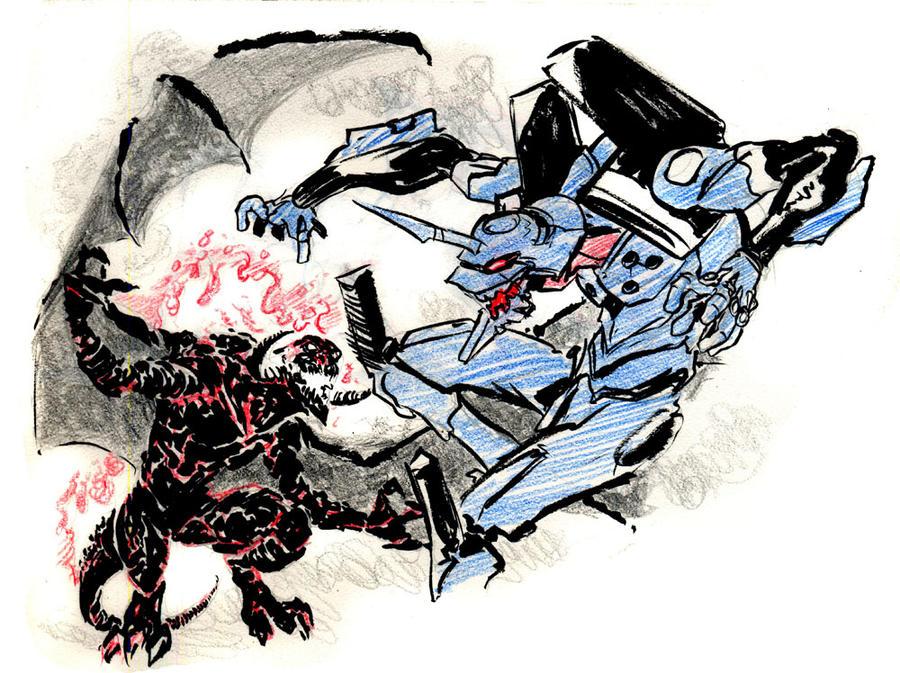 Sketch Jam  Eva Vs Barlog By Mistermoster On DeviantArt