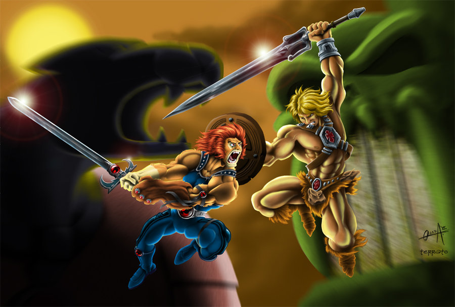 Lion-O vs He-man colored