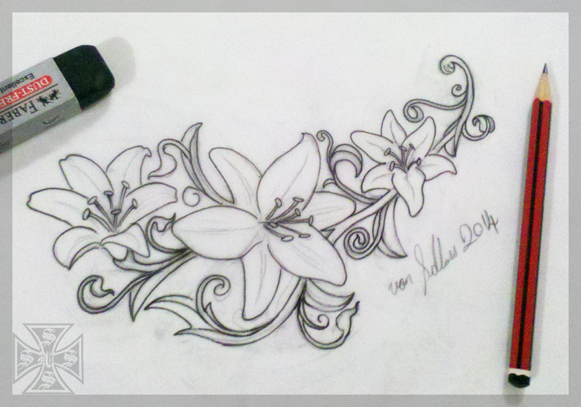 feminine tattoo idea lily flowers by vonschloss on deviantart. Black Bedroom Furniture Sets. Home Design Ideas
