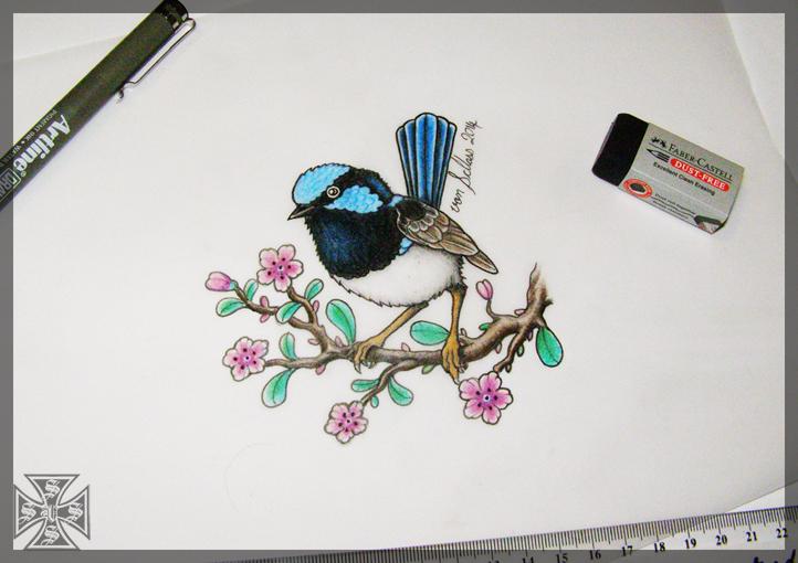 superb blue fairy wren tattoo design by vonschloss on deviantart. Black Bedroom Furniture Sets. Home Design Ideas