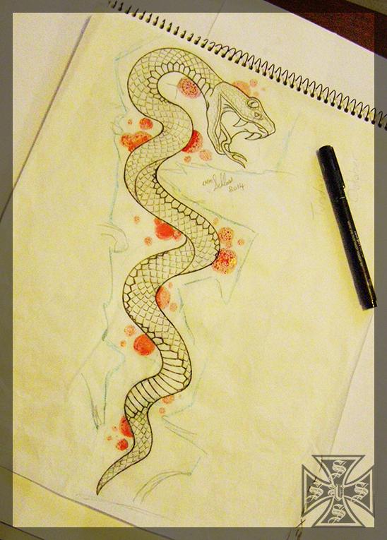 Snake Tattoo Sketch by vonSchloss