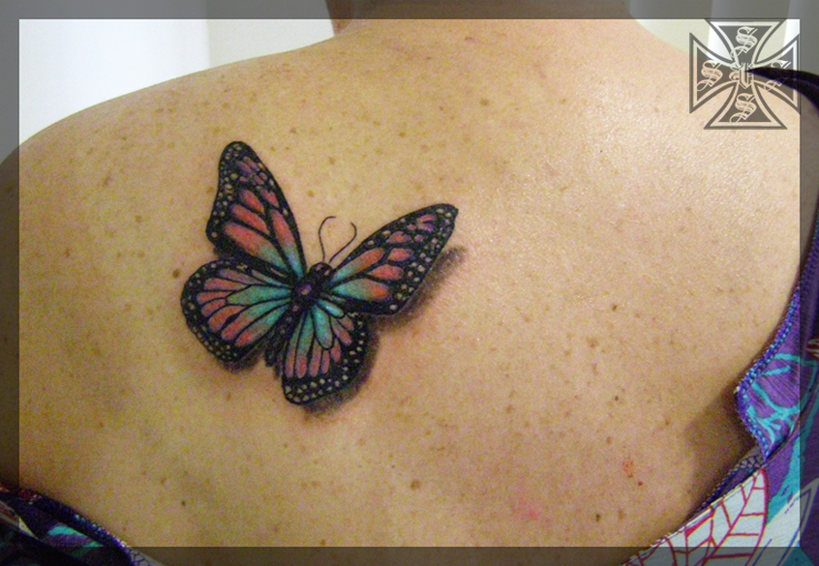 Colourful Butterfly Tattoo by vonSchloss
