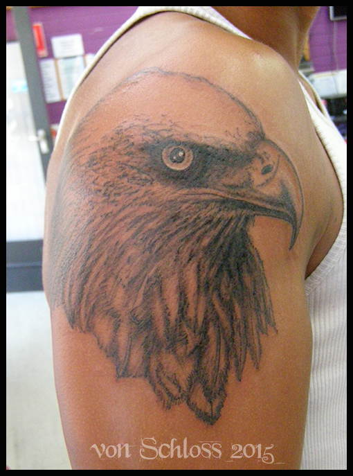 Black and Grey Eagle Head Tattoo by vonSchloss